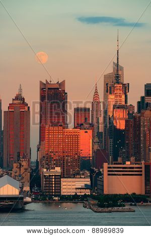 Super Moon over Midtown Manhattan at sunset