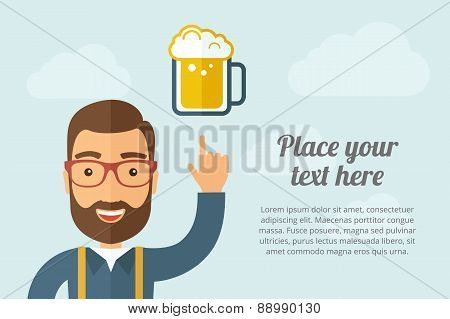 Man pointing the mug of beer icon