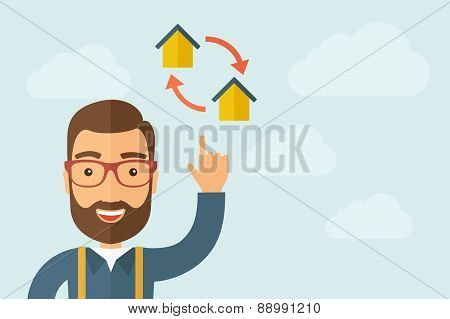 Man pointing the two houses icon