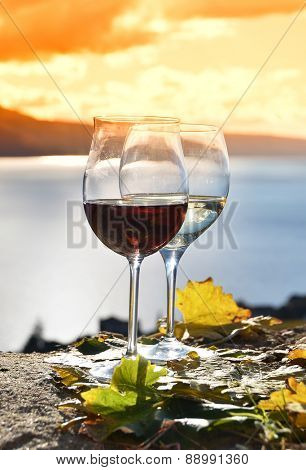 Two wineglasses and grapes on the terrace of vineyard in Lavaux region, Switzerland