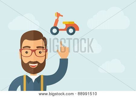 Man pointing the motorbike icon