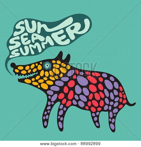 Colorful dog with sun sea summer banner.