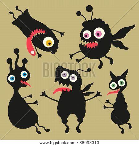 Happy monsters vector illustration Set