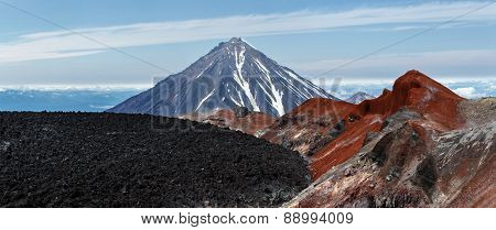 Panoramic View On Crater Active Avachinsky Volcano. Kamchatka