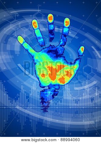 technology background - thermal hand print, digital wave, radial HUD interface elements