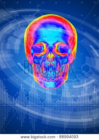 technology background - thermal skull print, radial HUD interface elements
