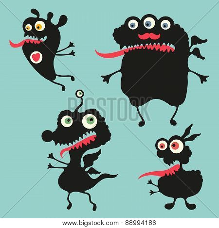 Happy monsters vector illustration. Set 11