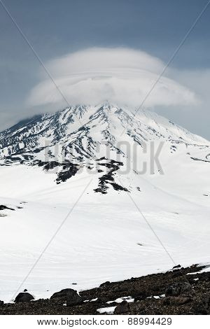 Wintry View Of Active Koryaksky Volcano On Kamchatka Peninsula