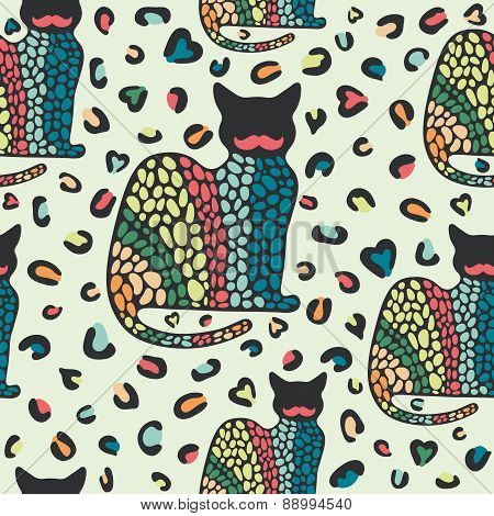 Seamless pattern with cats and colorful forms.