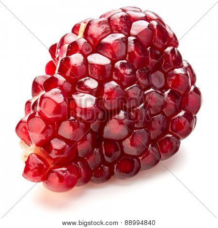 Ripe pomegranate fruit segment isolated on white background cutout