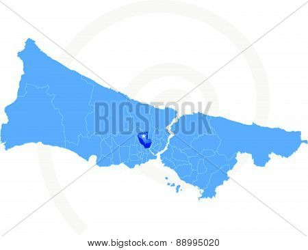 Istanbul Map With Administrative Districts Where Gaziosmanpasa Is Pulled