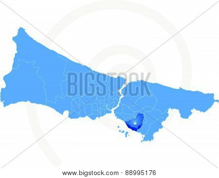 Istanbul Map With Administrative Districts Where Kartal Is Pulled