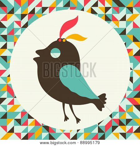 Arrogant bird with vintage background.