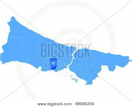 Istanbul Map With Administrative Districts Where Kucukcekmece Is Pulled