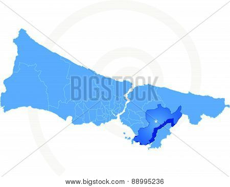 Istanbul Map With Administrative Districts Where Pendik Is Pulled