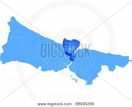 Istanbul Map With Administrative Districts Where Sariyer Is Pulled