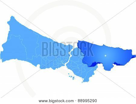 Istanbul Map With Administrative Districts Where Sile Is Pulled