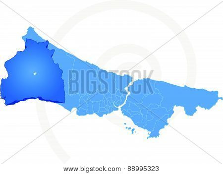 Istanbul Map With Administrative Districts Where Silivri Is Pulled