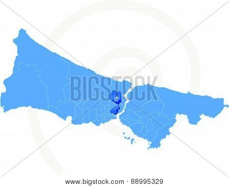 Istanbul Map With Administrative Districts Where Sisli Is Pulled