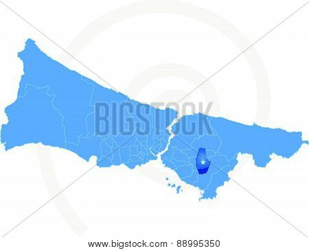 Istanbul Map With Administrative Districts Where Sultanbeyli Is Pulled