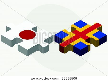 Japan And Aaland Islands Flags In Puzzle
