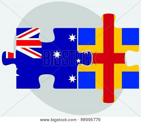Australia And Aaland Islands Flags In Puzzle