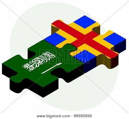 Saudi Arabia And Aaland Islands Flags In Puzzle