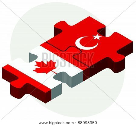 Canada And Turkey Flags In Puzzle