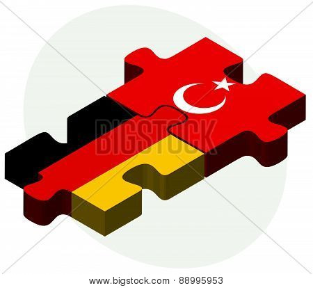 Germany And Turkey Flags In Puzzle