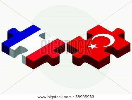 France And Turkey Flags In Puzzle
