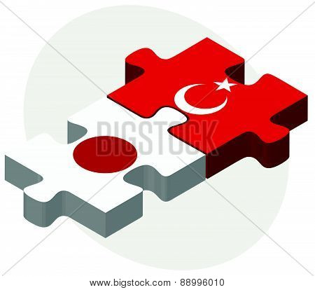 Japan And Turkey Flags In Puzzle