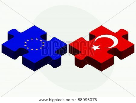 European Union And Turkey Flags In Puzzle