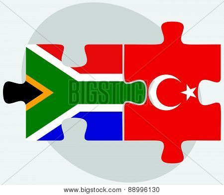 South Africa And Turkey Flags In Puzzle