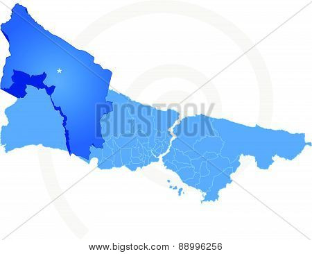 Istanbul Map With Administrative Districts Where Catalca Is Pulled