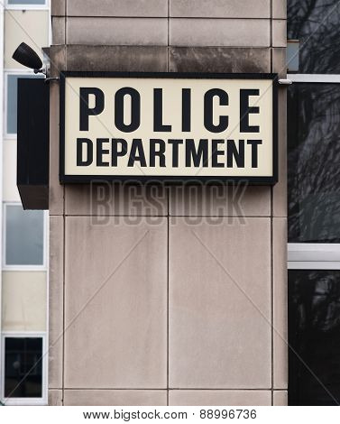 Downtown Precinct Police Department Sign Law Enforcement Building