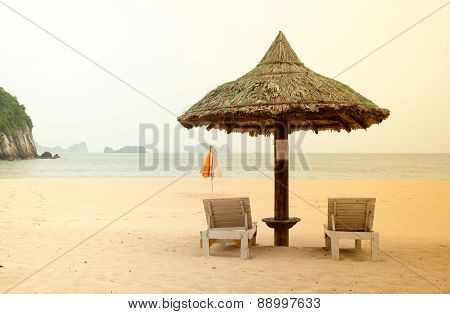 sea beach with the two beach beds