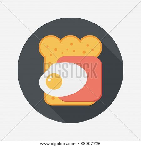 Ham Toast Flat Icon With Long Shadow,eps10