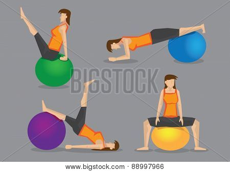 Woman Using Exercise Ball For Workout