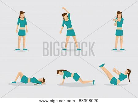 Woman Doing Warm Up Exercises Vector Character Illustration