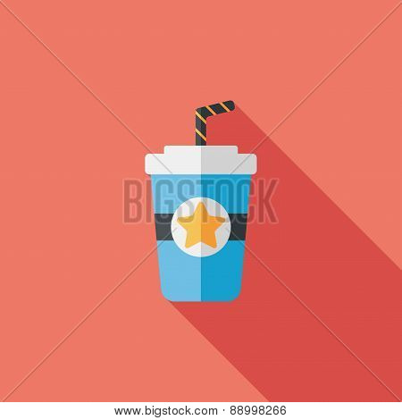 Soda Drink Flat Icon With Long Shadow,eps10