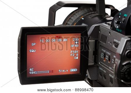 video camera with screen, isolated on white