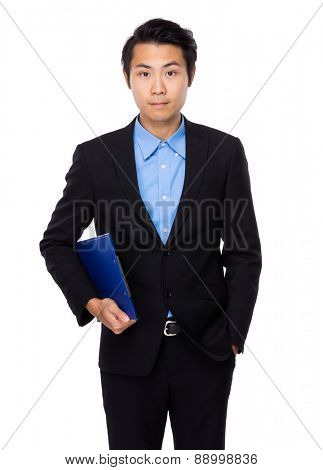 Businessman carry with clipboard