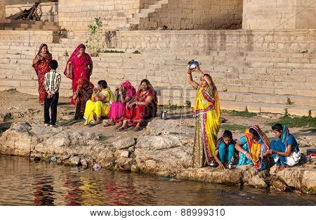 Women Doing Pooja In Rajasthan