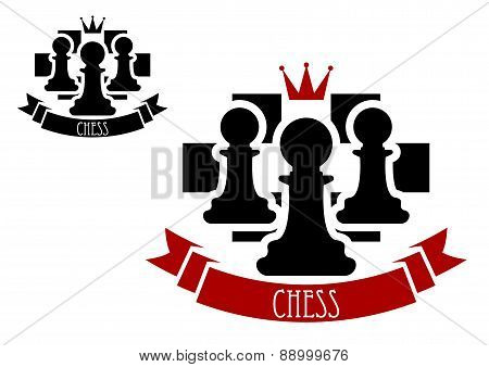 Chess emblem with pawns on chessboard background