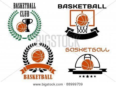 Basketball club emblems and symbols templates