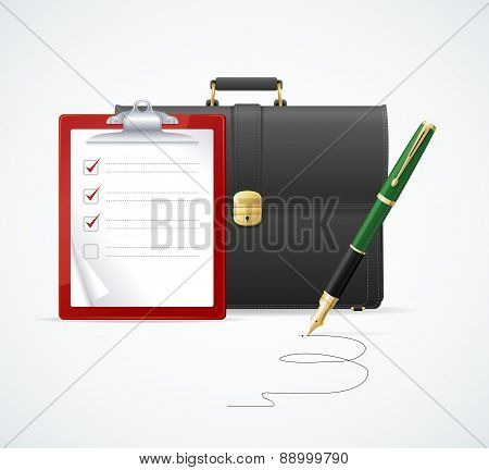 Vector briefcase, cuitcase checklist and pen