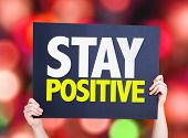 foto of positive  - Stay Positive card with bokeh background - JPG