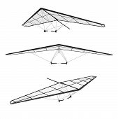 pic of hang-gliding  - Extreme Closeup Hang Glidings on a white background - JPG
