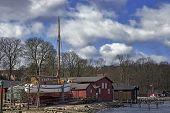 picture of shipyard  - Old red wooden shipyard in Middelfart Denmark  - JPG