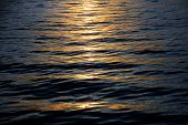 pic of calm  - last sunset reflections on calm ocean waves background for holidays at the sea